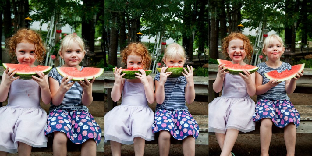 Collage, 3 images, 2 young girls eating a watermelon